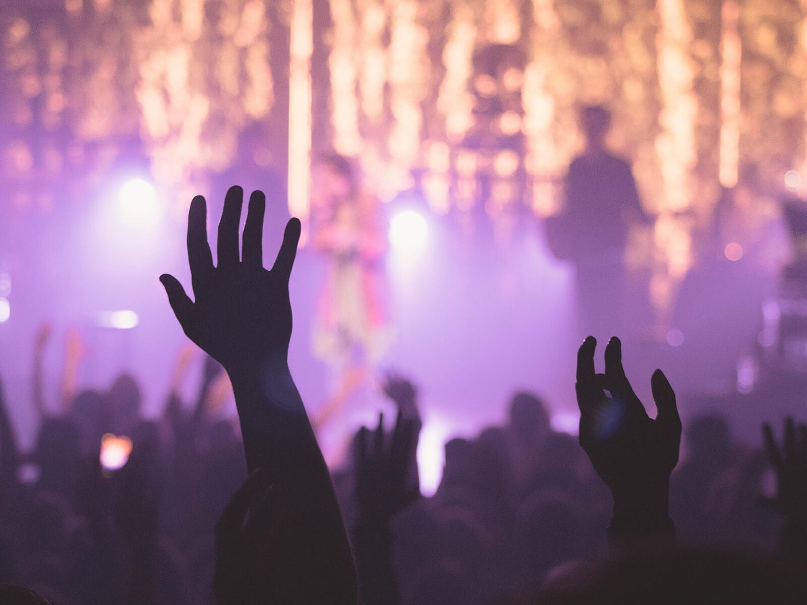 Die Hände gehen hoch im Konzert